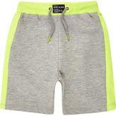 River Island Mini boys grey lime shorts