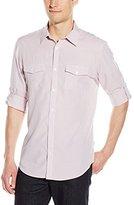 Calvin Klein Men's Long Sleeve Cotton Tencel Mini Check Roll Up Woven Shirt