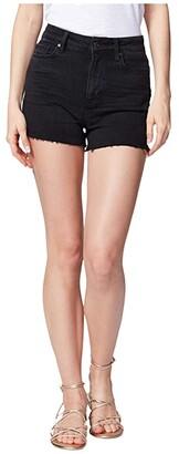 Paige Margot Shorts w/ Raw Hem in Lived In Noir (Lived In Noir) Women's Shorts