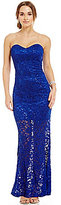 Jump Strapless Metallic Sequin Lace Gown