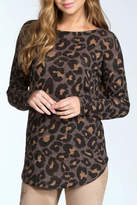 Cherish Leopard Open Back Sweater