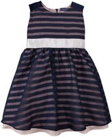 Andy & Evan Stripe Organza Party Dress (Toddler/Kid) - Navy-2T