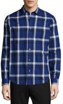 Vince Melrose Plaid Long-Sleeve Sport Shirt, Blue