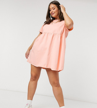 ASOS DESIGN Curve soft denim smock dress in coral