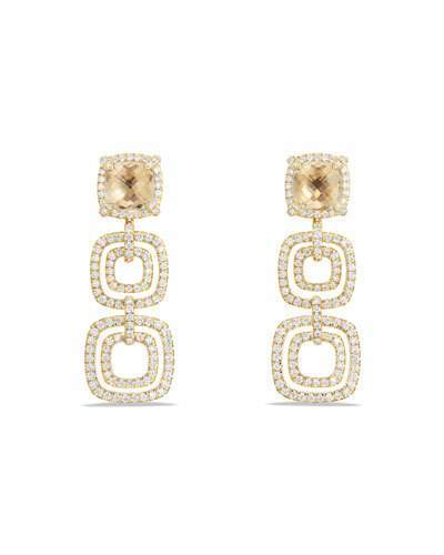 David Yurman Châtelaine Triple-Drop Champagne Citrine Earrings with Diamonds