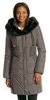 T Tahari Nina Fly Front Down Jacket With Faux Fur Trim
