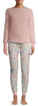 The Cozy Corner Club The Cozy Corner Women's Long Sleeve Sherpa Top & Multi Color Fleece Plush Bottom Pajama Set
