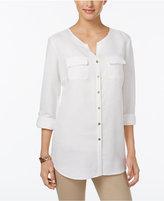 JM Collection Linen-Blend Button-Back Shirt, Only at Macy's