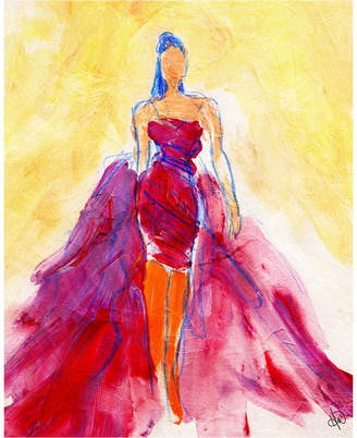 "Creative Gallery Flowing Red Dress Abstract 36"" x 24"" Canvas Wall Art Print"