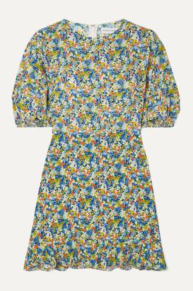 Faithfull The Brand Jeanette Floral-print Crepe Mini Dress - Light blue