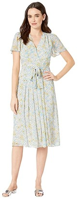 Donna Morgan Printed Chiffon Fit and Flare Dress (Blue Cadet/Mimose Yellow Multi) Women's Dress
