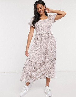 Y.A.S midaxi dress with tiered skirt and puff sleeves in floral print