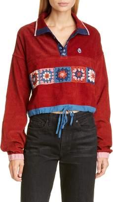 story. mfg. Polite Crochet Panel Corduroy Crop Pullover