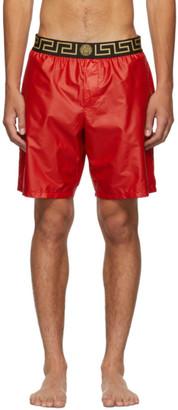 Versace Underwear Red Greek Key Medusa Swim Shorts