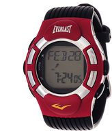 Everlast Mens Heart Rate Monitor Red Bezel Black Silicone Strap Watch