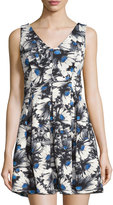 Romeo & Juliet Couture Sleeveless Floral-Print Fit & Flare Dress, Gray Multi
