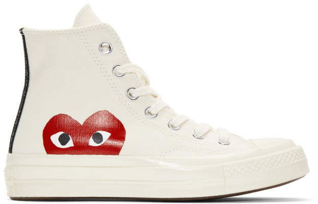 Comme des Garcons Off-White Converse Edition Half Heart Chuck Taylor All-Star 70 High-Top Sneakers