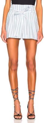 L'Agence Alex Paperbag Shorts in Light Blue & Ivory   FWRD
