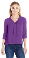 NY Collection Women's Petite Solid 3/4 Sleeve Lace up V Neck Top with