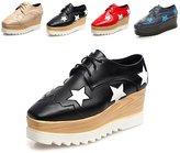 ZHIHONG Women's Fashion Star Square-toe Lace-up Platform Wedge Oxford Shoes (Women-US 5, )