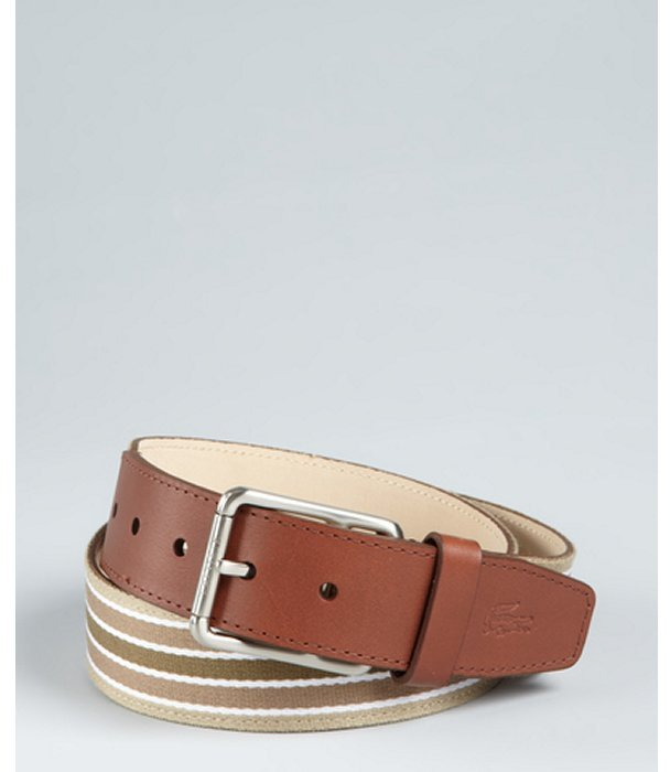 Lacoste olive and camel striped canvas leather detailed belt
