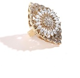 Antique Gold and Crystal Gem Flower Filigree Ring