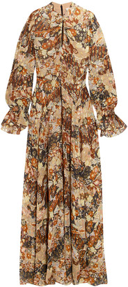 Chloé Metallic Printed Fil Coupe Silk-chiffon Maxi Dress