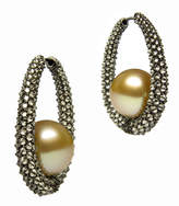 Baggins Cognac Diamond and Golden Pearl Hoops