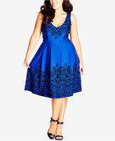 City Chic Trendy Plus Size Border-Print Fit & Flare Dress