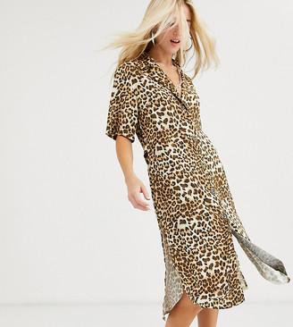 Reclaimed Vintage inspired oversized midi shirt dress in leopard print-Multi