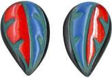 One Kings Lane Vintage Glazed Ceramic Leaf Earrings