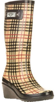 Forever Young Women's Printed Plaid Tall Wedge Rain Boot