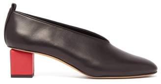 Gray Matters - Mildred Block-heel Leather Pumps - Womens - Black