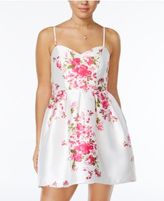 Crystal Doll Juniors' Floral-Print Fit & Flare Dress
