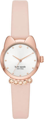 Kate Spade Women Cat Face Blush Leather Strap Watch 26mm
