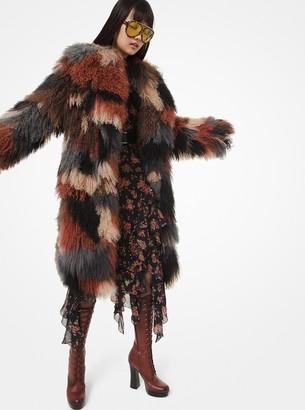 Michael Kors Patchwork Mongolian Intarsia Coat