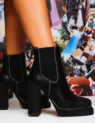 Public Desire Uk Antix Contrast Stitch Platform Block Heeled Ankle Boots