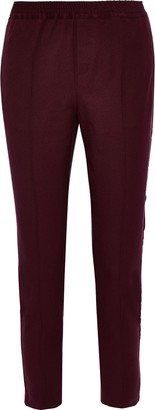 Charli Cecile Velvet-trimmed Stretch-twill Slim-leg Pants