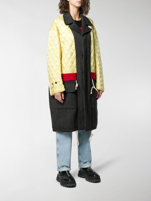 Plan C Panelled Quilted Coat