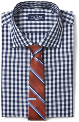 The Tie Bar Navy Classic Gingham Non-Iron Shirt