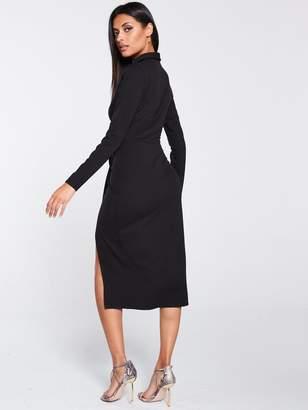 Very Wrap Choker Scuba Crepe Midi Dress - Black