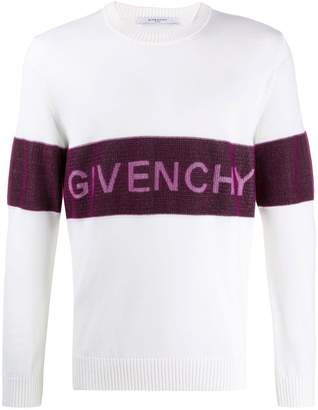 Givenchy contrasting logo band sweater white