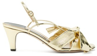 Gucci Dafne Metallic-bow Leather Sandals - Womens - Gold