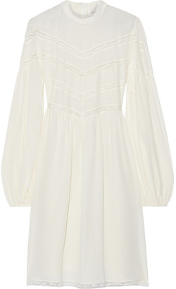 Zimmermann Lace-trimmed Silk Crepe De Chine Mini Dress