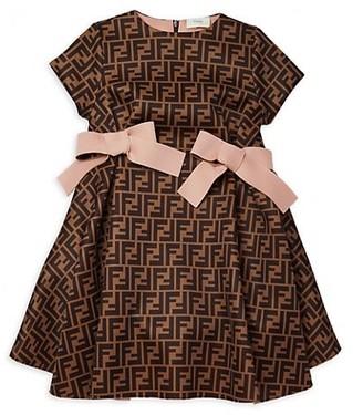 Fendi Little Girl's & Girl's Neoprene All Over Logo Dress