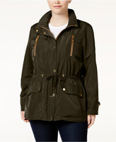 MICHAEL Michael Kors Size Faux-Leather-Trim Anorak