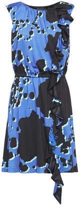 Just Cavalli Ruffled Printed Ponte Mini Dress