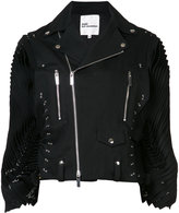 Comme des Garcons pleated sleeves biker jacket - women - Cotton - S