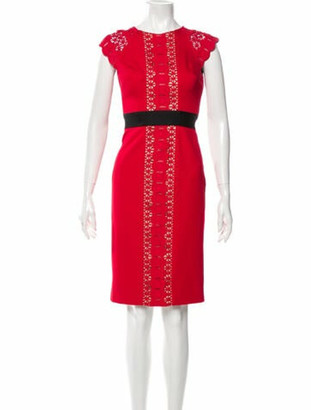 Catherine Deane Lace Pattern Knee-Length Dress Red