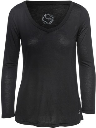 Conquista Black V Neck Top By Swl In Jersey Sustainable Fabric.